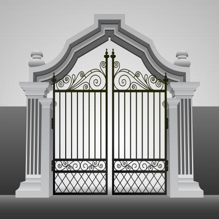 barokke toegangspoort met ijzeren hek vector illustratie
