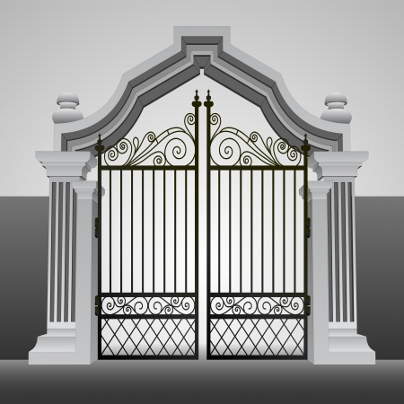 heavens gates:  baroque entrance gate with iron fence vector illustration Illustration