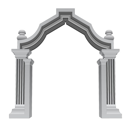 roman column: marble stone baroque entrance gate frame vector illustration