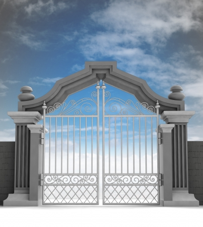 heavens gates: cemetery gate with metallic fence, dark enening illustration Stock Photo