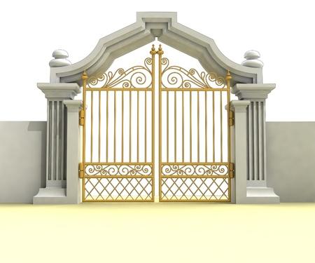 closed golden entrance isolated on white illustration Stock Photo