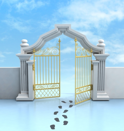 place of worship: opened golden entrance with footprints and sky illustration
