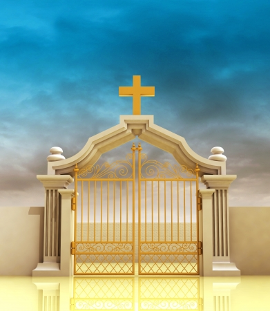 place of worship: closed golden entrance to paradise with sky illustration Stock Photo