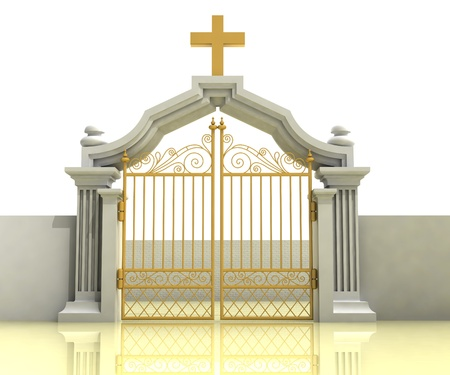 gold cross: ancient closed entrance with gold cross above illustration