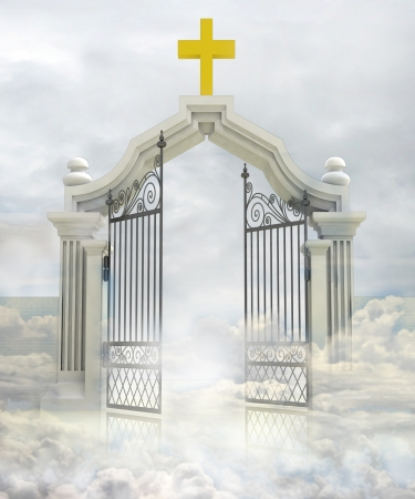 heavens gates: semi opened entrance to Gods paradise in sky illustration Stock Photo