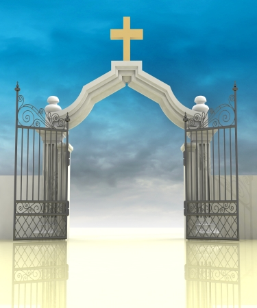 opened entrance to paradise with sky illustration illustration