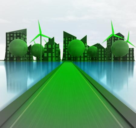 green road to windmill city island concept illustration illustration
