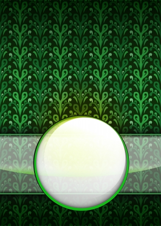 secession: green leafy pattern with blank ribbon circle illustration