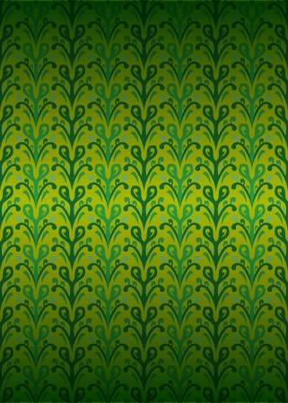 secession: green secession foliage pattern on yellow illustration Illustration