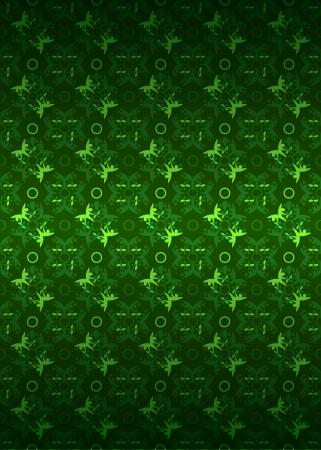 secession: green yellow secession foliage pattern dark illustration Illustration