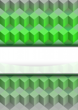 green cubic dimensional with blank text stripe illustration Stock Vector - 18827933