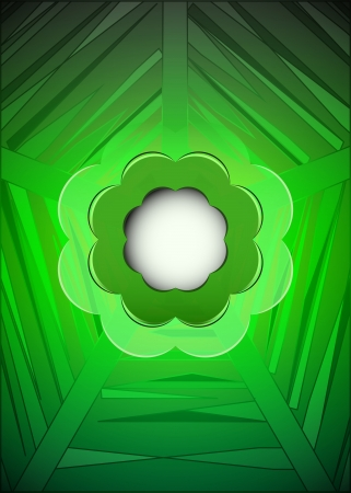 green geometrical web with blank blossom illustration Stock Vector - 18828368