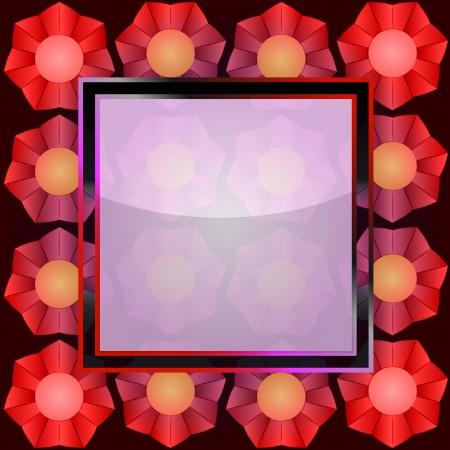 red blossom on blank square frame card illustration Vektoros illusztráció