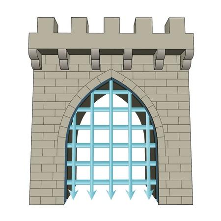 edad de piedra: aislado medieval puerta cerrada ilustraci�n vectorial