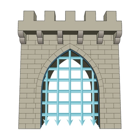 iron gate: isolated medieval closed gate vector illustration Illustration