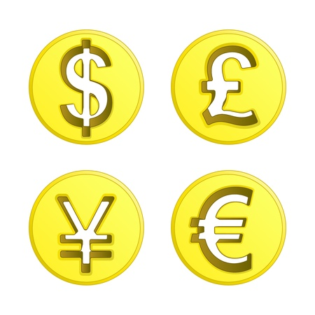 dollar euro yen and pound coin pack illustration Vector