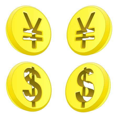 dollar and yen coin sign exchange illustration Stock Vector - 18827356