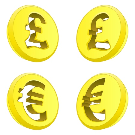 British pound and euro perspective coin drawing illustration Vector