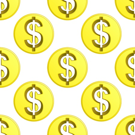 trade union: dollar golden coin symbol pattern tile illustration Illustration