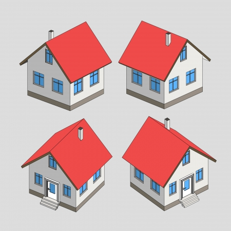 house project sketch isometric view illustration Vector