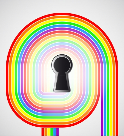 rainbow swirl with keyhole in the middle illustration Stock Vector - 18827962