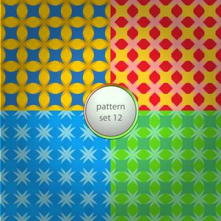 color mixed star grid pattern set background Stock Vector - 18828298