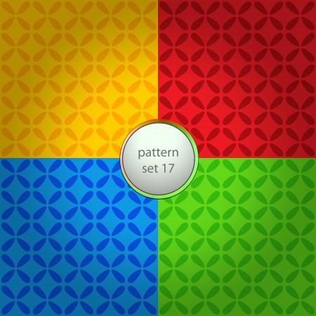 four color floral cloverleaf pattern set background Stock Vector - 18828086