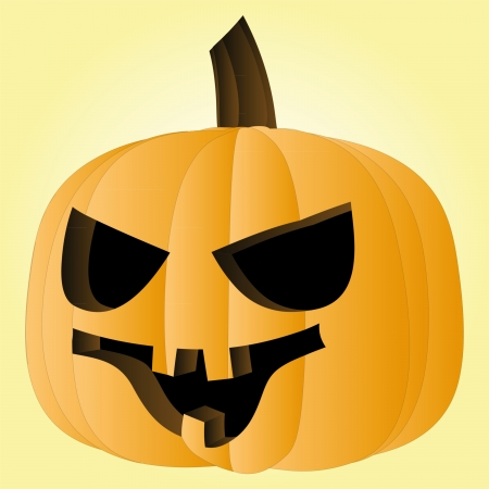 pumpkin Halloween face render illustration Vector
