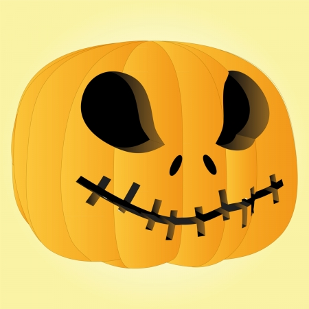 vector scary pumpkin halloween face render illustration Vector