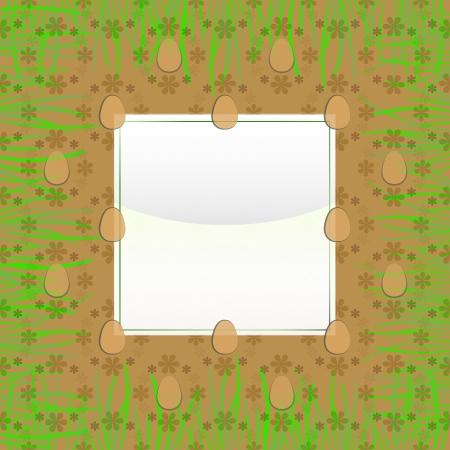 grassy: grassy square frame with brown easter egg pattern vector  illustration