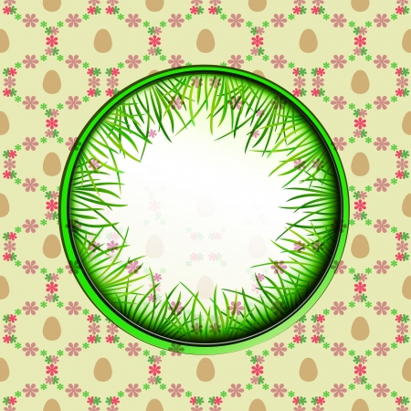 inner grassy circle label with easter egg pattern illustration