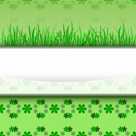 growing grass on stripe with foliage pattern illustration Vector