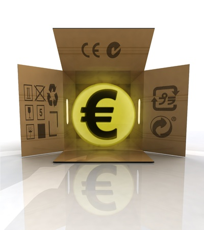 ordered: payment in euro for ordered goods delivery illustration