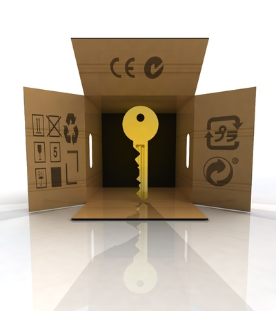delivered: golden key product delivered in box concept illustration