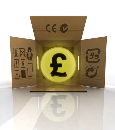 ordered: payment in pounds for ordered goods delivery illustration Stock Photo