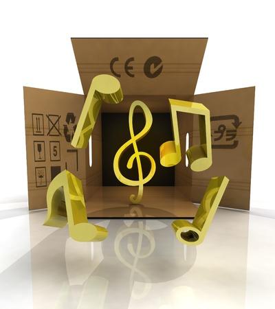 transported: transported flying golden music symbols surprise illustration
