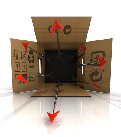poisoned: dangerous poisoned arrow trap in paper box illustration Stock Photo
