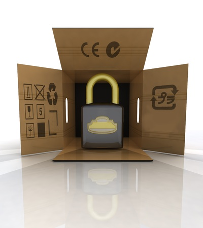 new security padlock advertise in carton box illustration Stock Illustration - 18827382