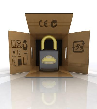 new security padlock advertise in carton box illustration Stock Illustration - 18827382