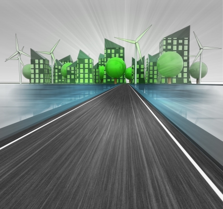 sustainable design: road way to shining ecological city island with windmills