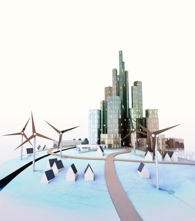 isolated modern cityscape with windmills at daylight illustration illustration