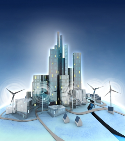 ecological city general view with windmills illustration illustration
