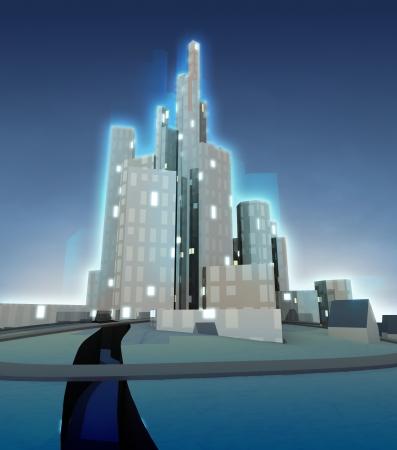darkness of winter night over modern cityscape illustration illustration