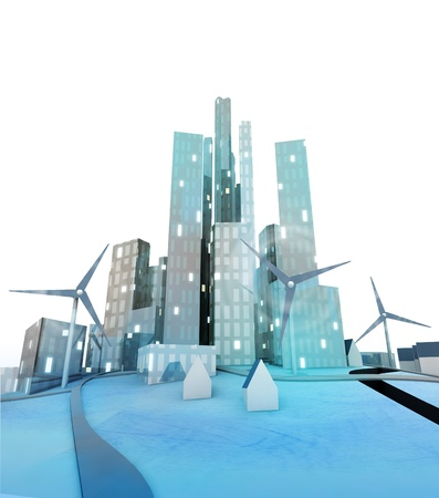 windmills in modern green ecological city illustration illustration