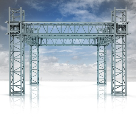 iron new building construction frame with blue sky illustration