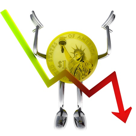 dollar coin robot with negative graph report illustration rendering Stock Photo