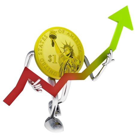 dollar coin robot help to investment illustration rendering Stock Illustration - 18827301