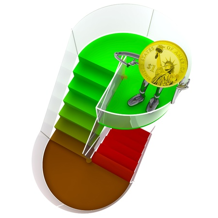 dollar coin robot victor standing at the top of staircase rendering illustration Stock Illustration - 18827336