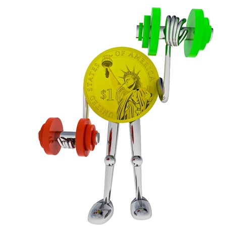 dollar coin robot heave his dumbbel rendering illustration illustration