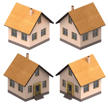 4 door: four isometric views on new real estate project illustration